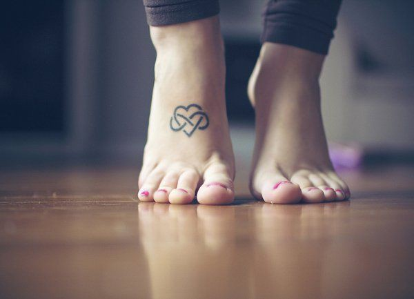 Foot tattoos small hearts, Infinity symbol