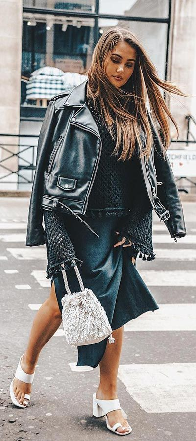 Spring Outfits For Women, Street fashion, Leather jacket