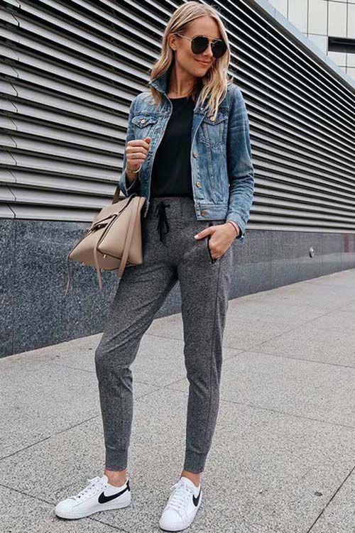 Sweatpants and jean jacket