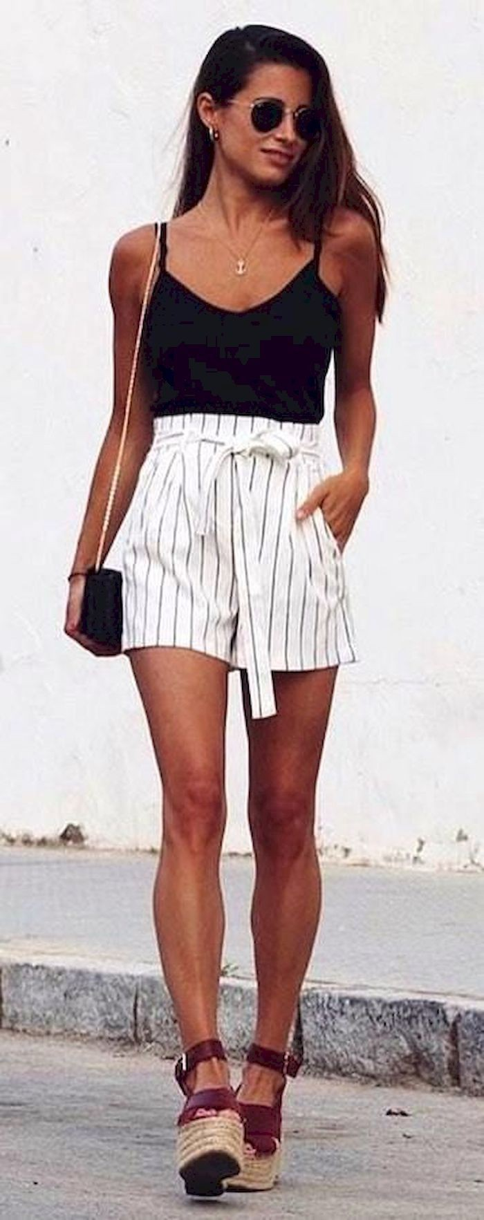 High waisted pinstripe shorts, Casual wear