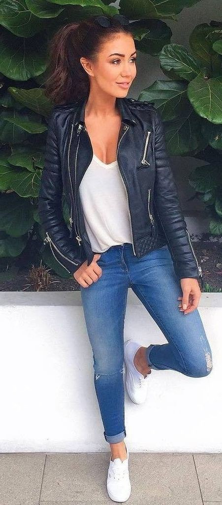 Leather Jacket Outfit For Women