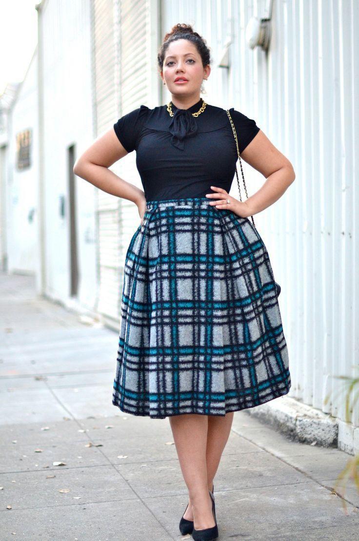 Plus size plaid skirt, Plus-size clothing