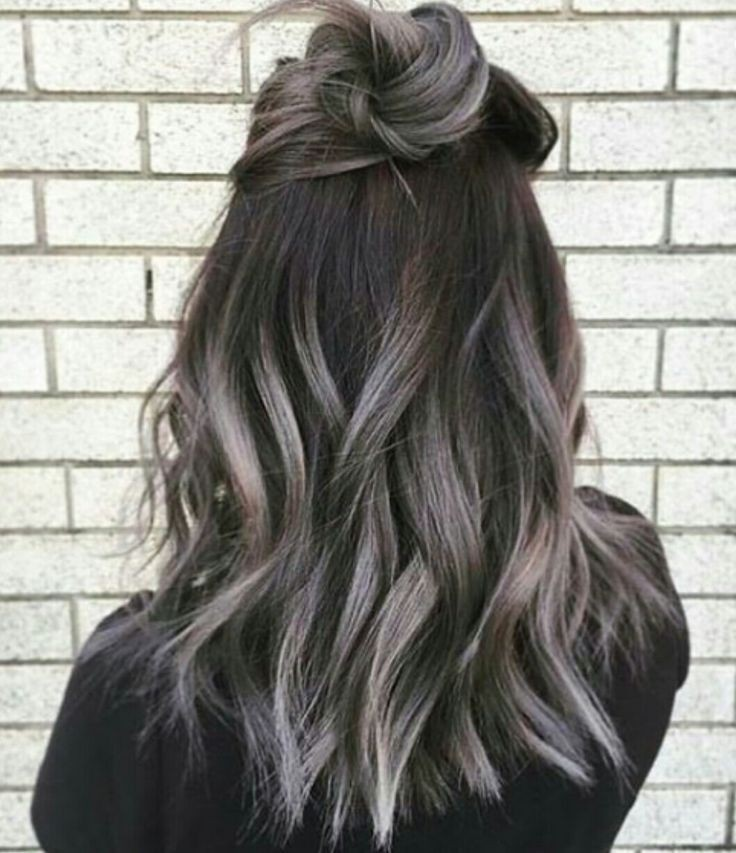 Grey purple hair balayage, Brown hair