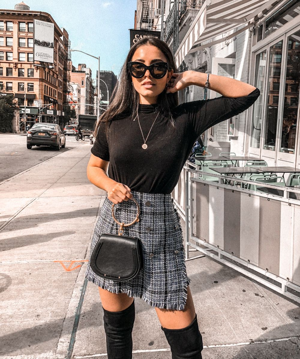 Party wear tweed skirt outfit, Casual wear