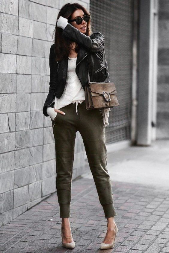 Study more about womens joggers style, Leather jacket