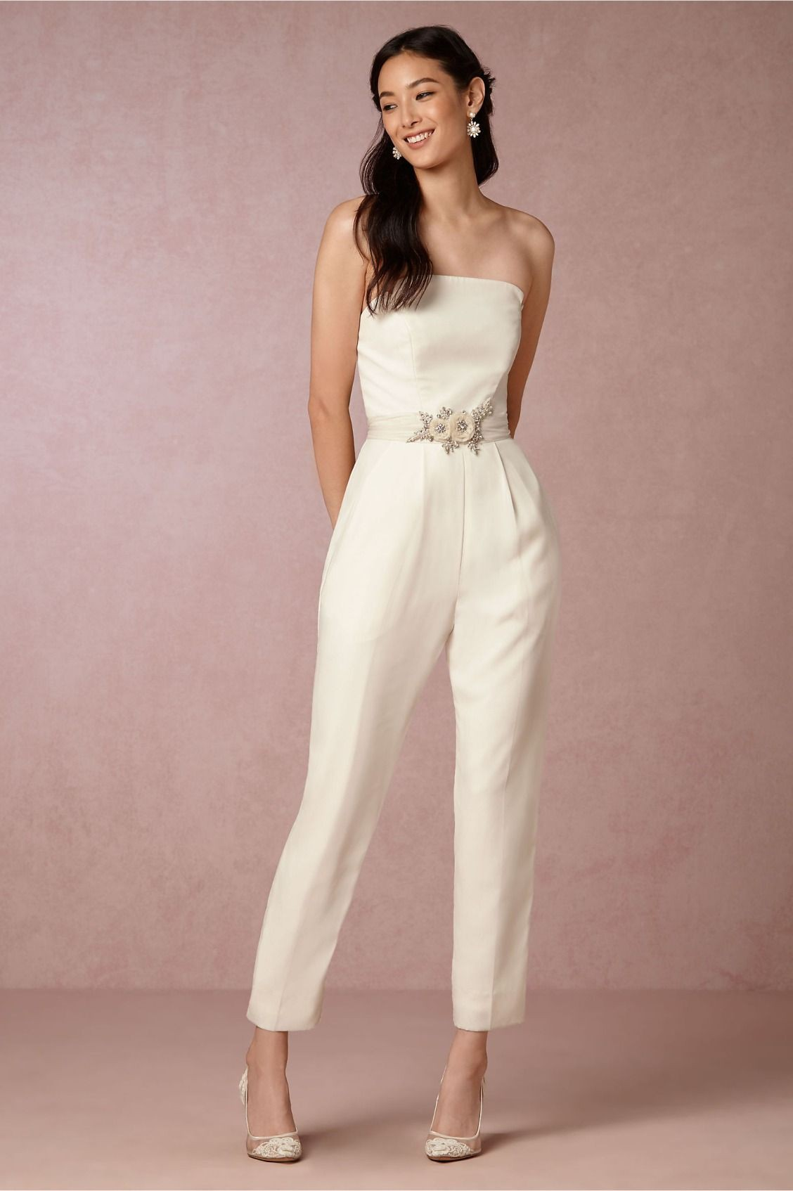 Party wear tips for bhldn white jumpsuit, Jill Jill Stuart
