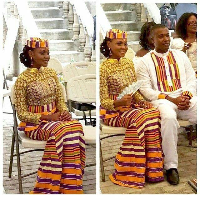 Ghana kente wedding dress, Kente cloth