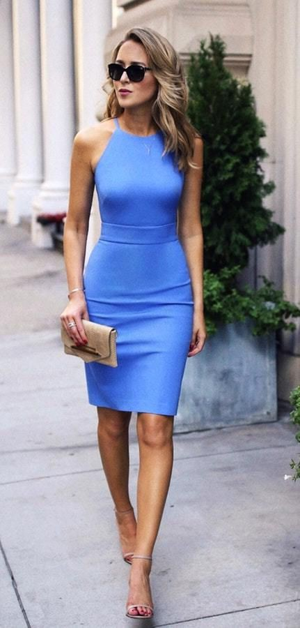 Nude strappy sandals outfit, Sheath dress