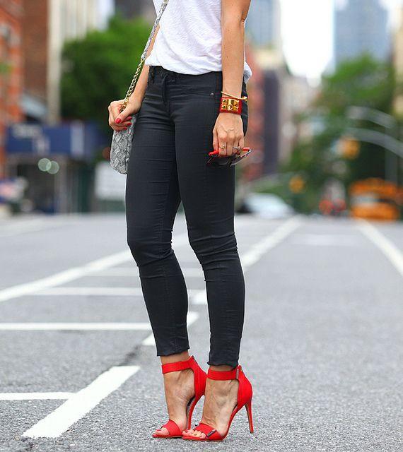 Black pants red shoes women