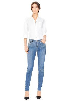 Blue Jeans White Top Combination