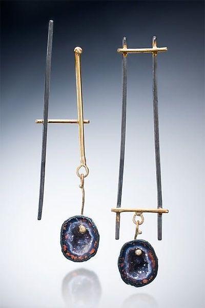 Asymmetrical Earrings Ideas, Mini Square Earrings, Gold/Silver/Stone