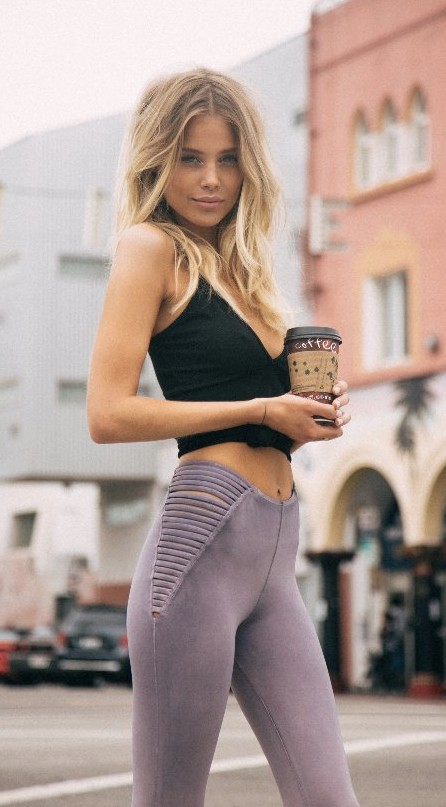 Blonde hair black leggings, Crop top