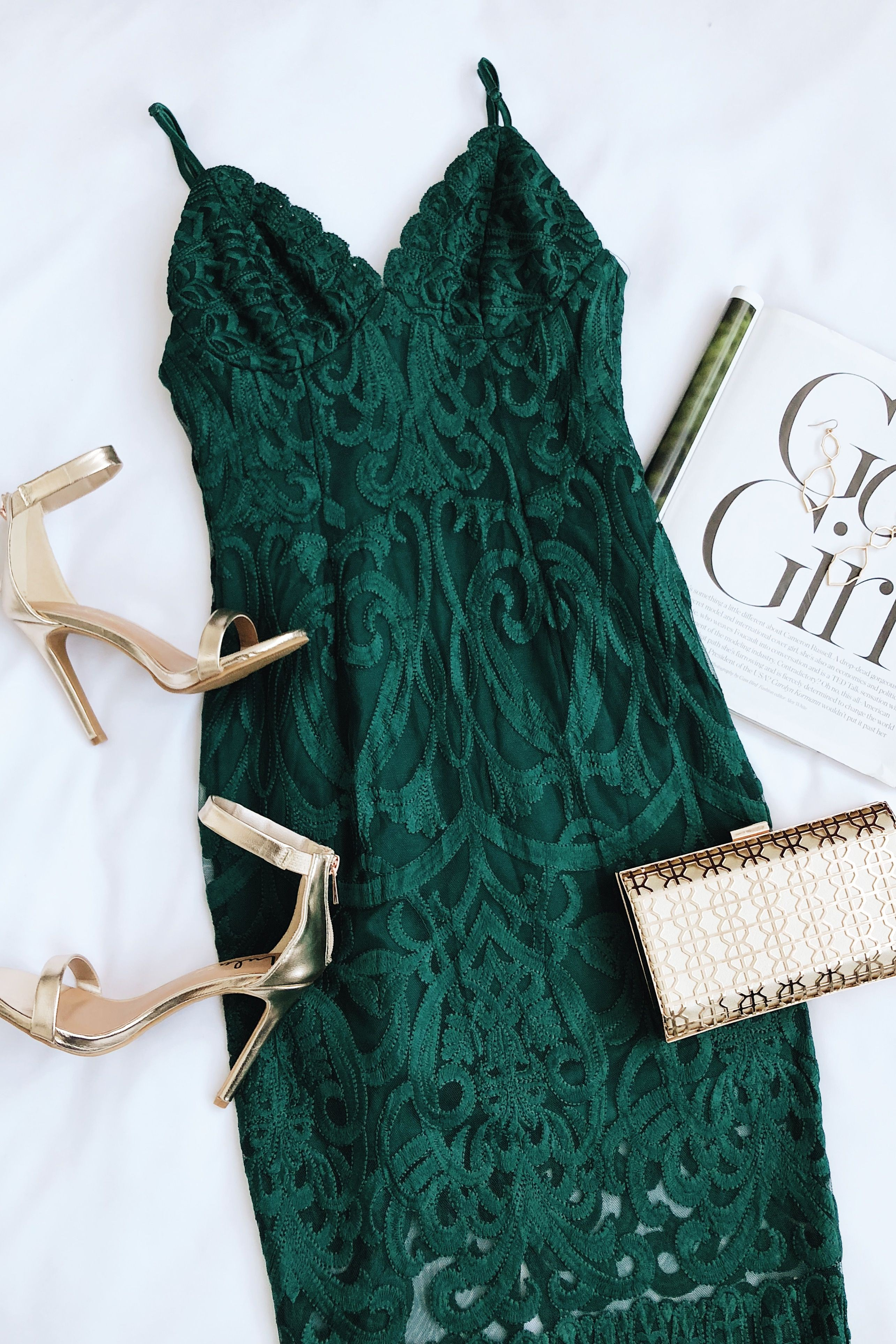 Christmas Party Outfits/Dresses, Forest Green, Evening gown