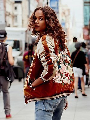 Free people velvet bomber jacket embroidered