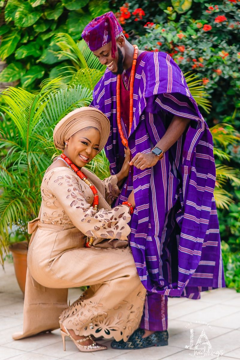 Nigerian traditional engagement couple, Yoruba people