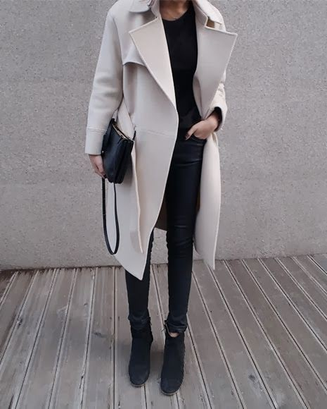 Cream wool coat outfit, Casual wear