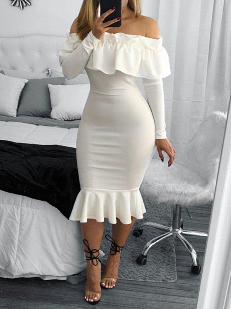 Fashion mermaid frilled layered bodycon dress