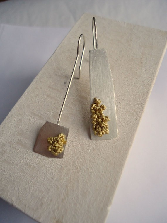 Pendientes Plata Asymmetrical Earrings, Jewelry design,