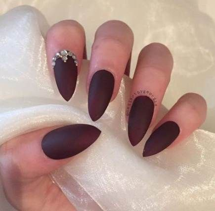 Matte burgundy stiletto nails, Artificial nails