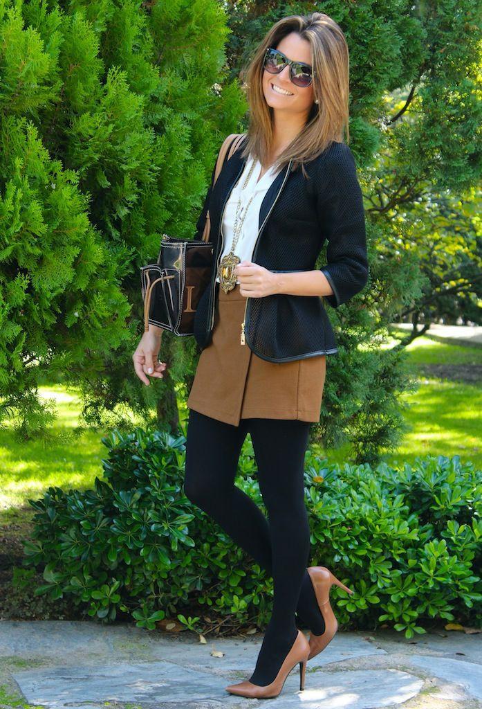 Dresses With Tights, High-heeled shoe, Denim skirt
