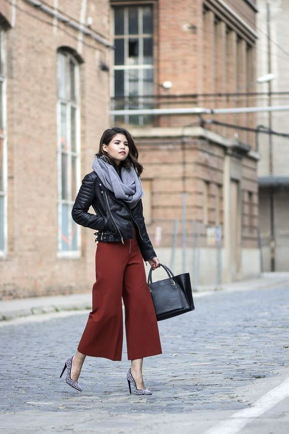 Culottes Outfit Ideas, Leather jacket