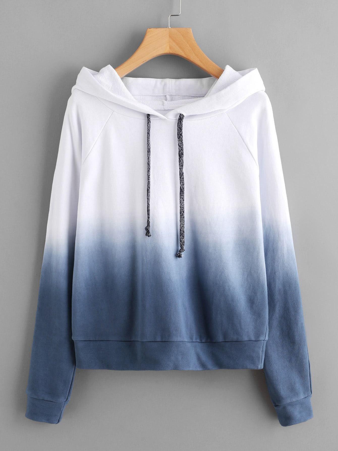 Raglan sleeve ombre hoodie, Raglan sleeve