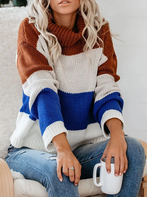 Outfits With Color Block Sweaters & Coats, Polo neck, Casual wear