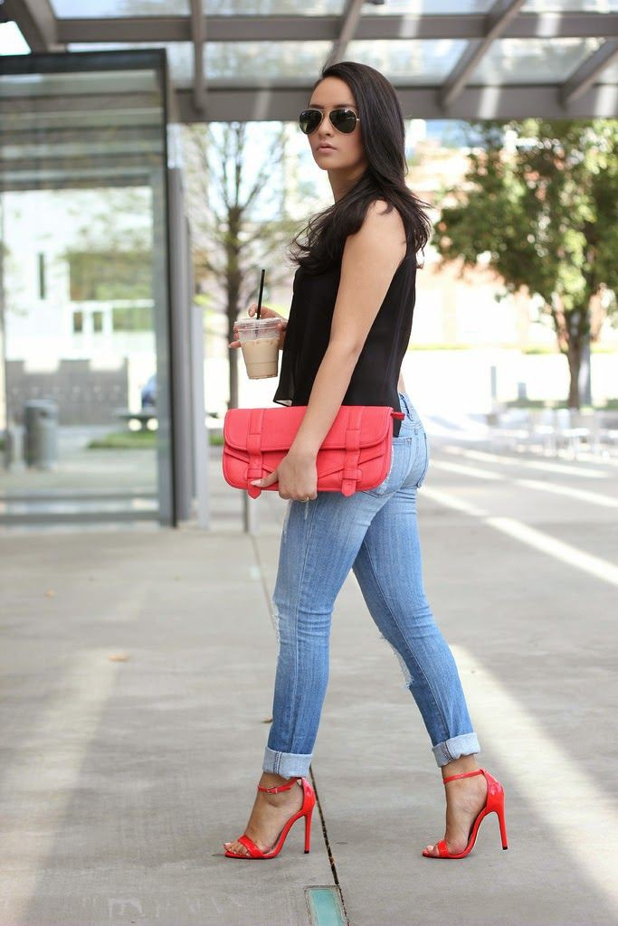 Dressy black top with jeans and red heels