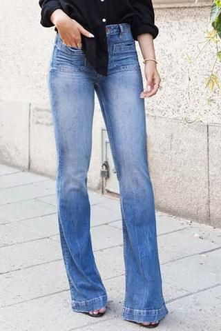 Great outfit ideas to try trumpet flare jeans, Slim-fit pants