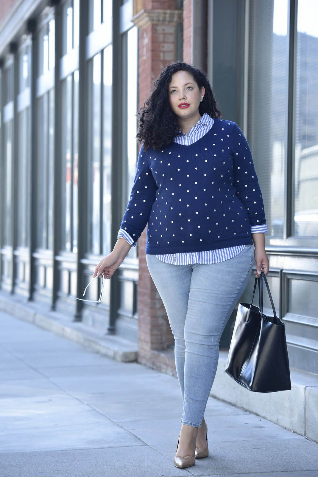 Plus Size Workwear Outfits, Polka dot, Photo shoot