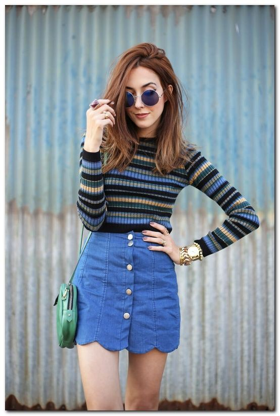 Skirt Outfits For College, Denim skirt, Casual wear