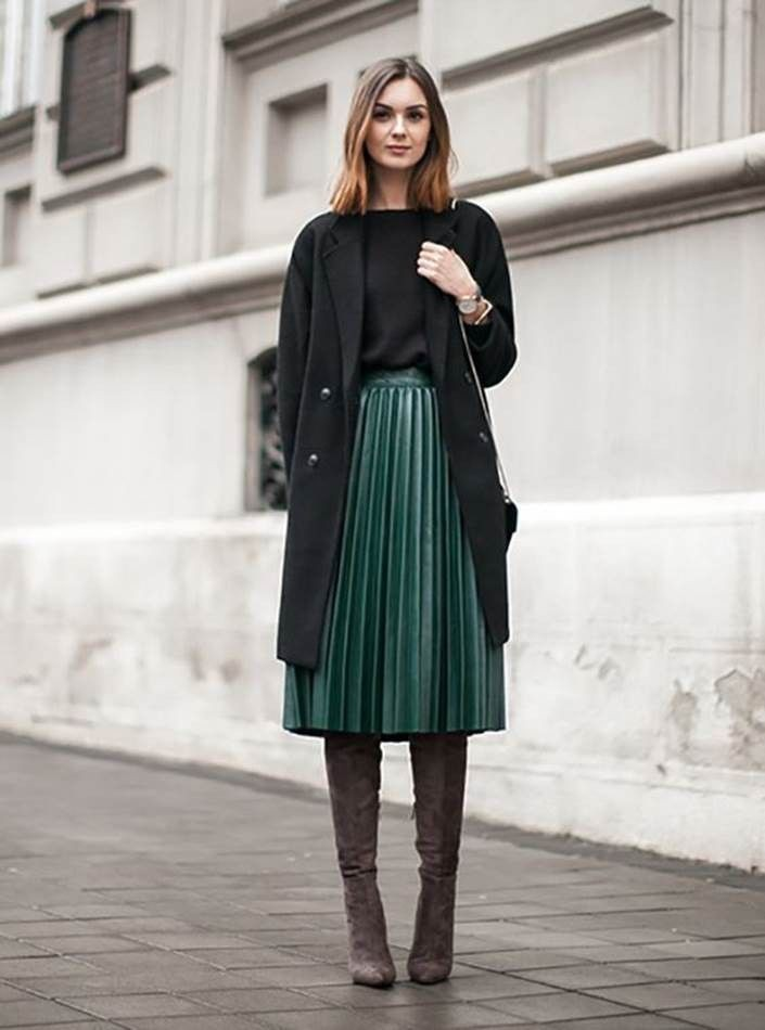 Pleated midi skirt outfit, Casual wear