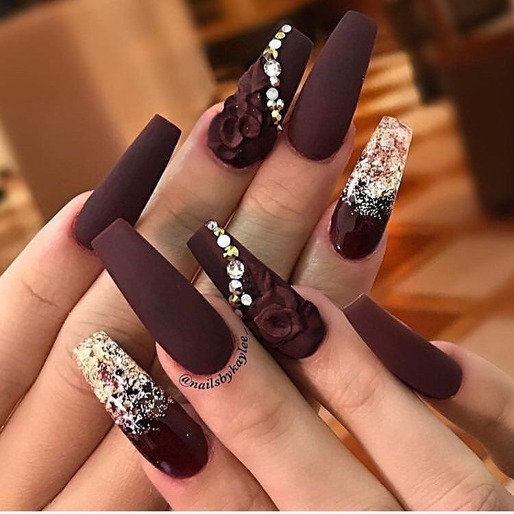 Burgundy coffin nails with rhinestones