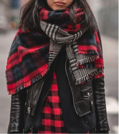 Plaid and houndstooth scarf, Scarves & Wraps