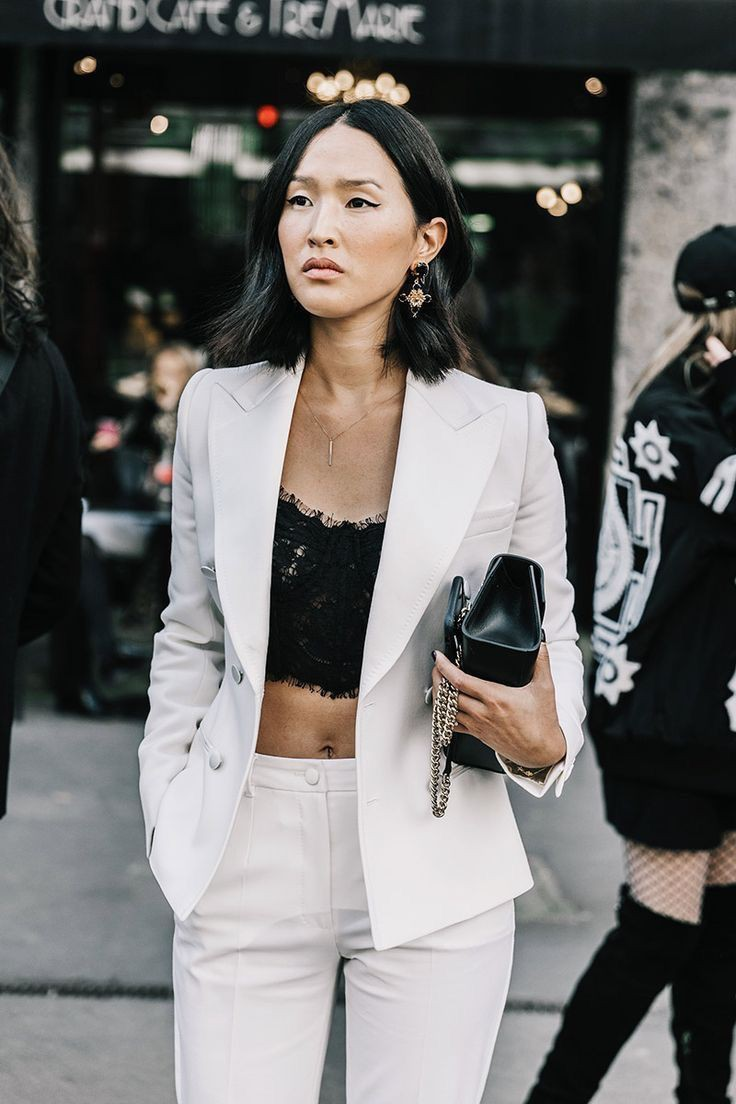 White suit black crop top