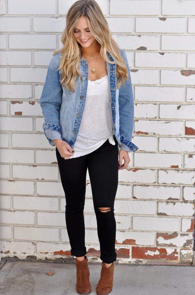 Jean jacket fall outfits, Casual wear