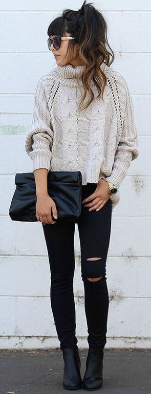Black jeans with sweater fall