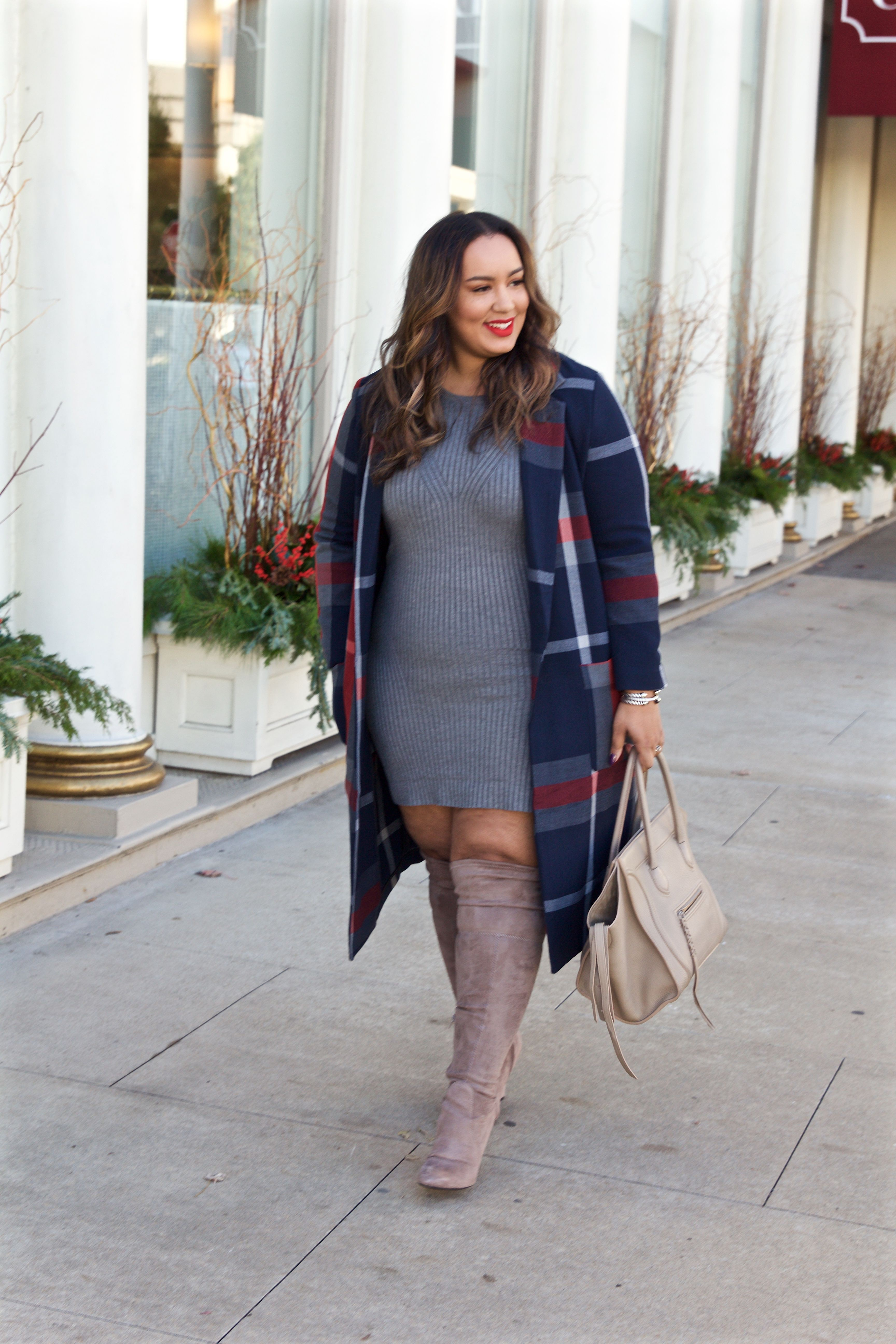 Grey dress and taupe boots