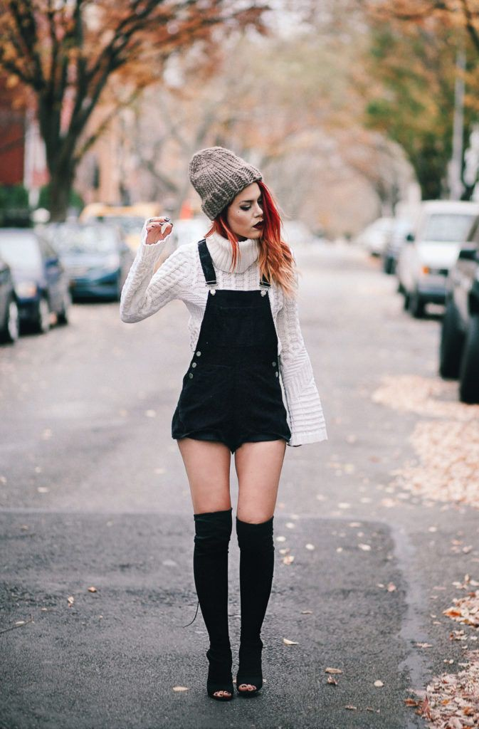Check out stunning overalls sweater, Polo neck