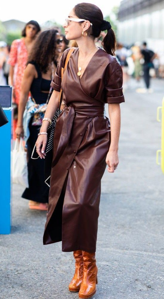 Casual Wrap dress Brown Outfits
