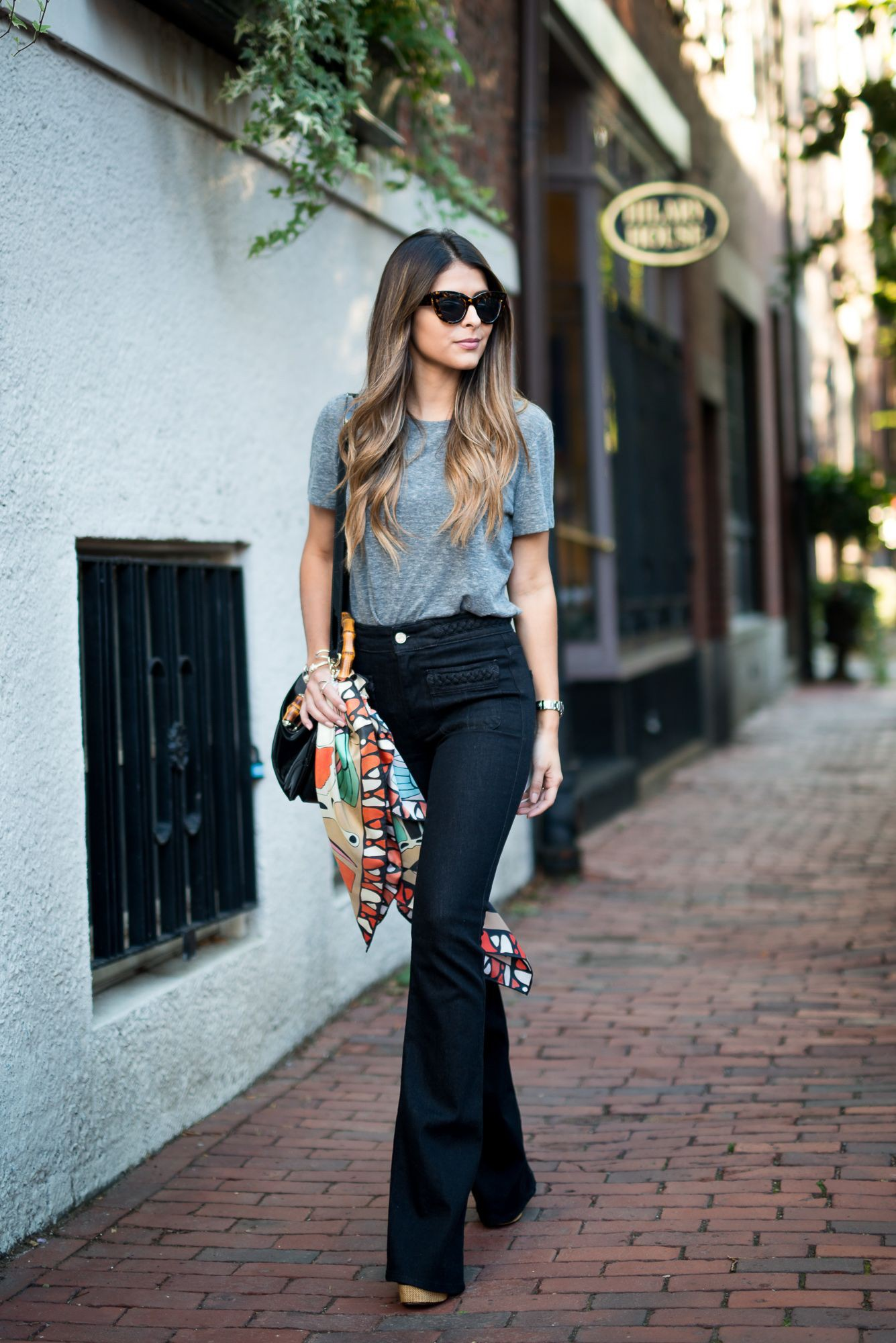 Black flared jeans outfit, Casual wear