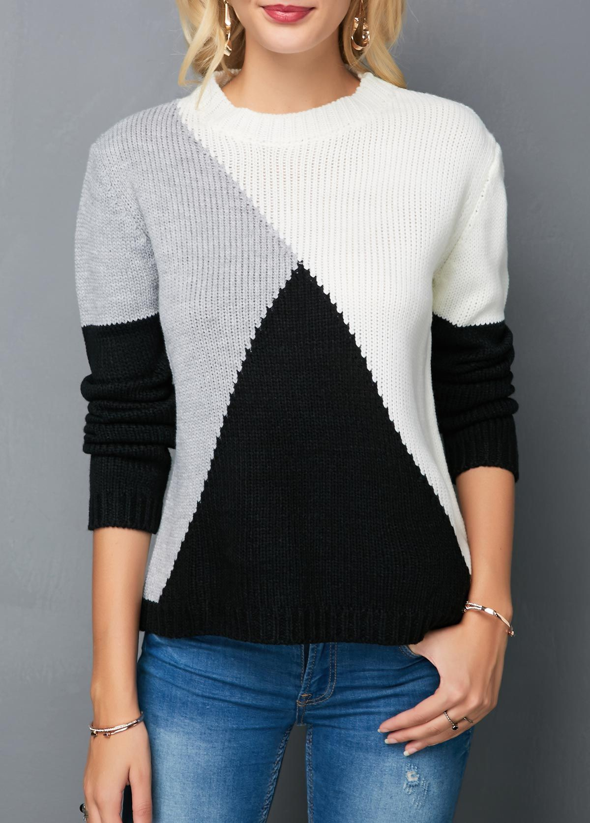 Black and white Color Block Sweaters