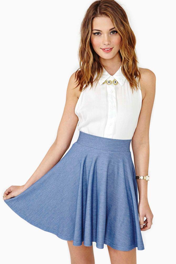 Blue skater skirt outfit, Skater Skirt