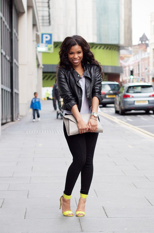 Outfits With Yellow Shoes, High-heeled shoe, Leather jacket