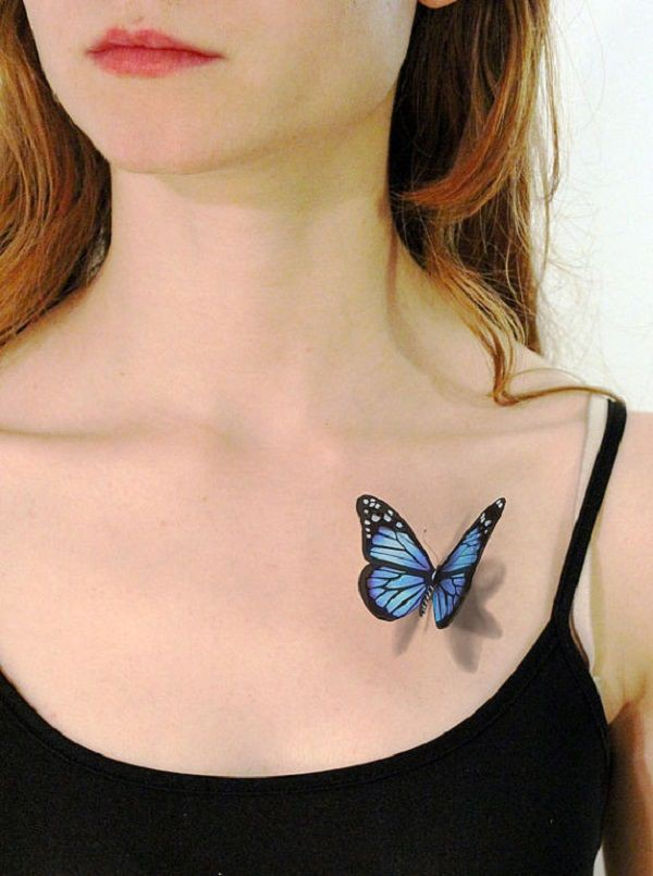 3d butterfly tattoo on shoulder