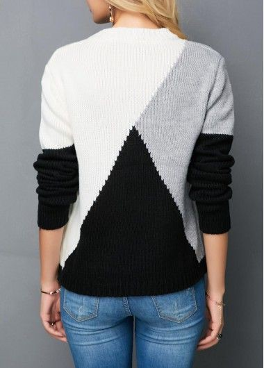 Grey Color Block Sweaters