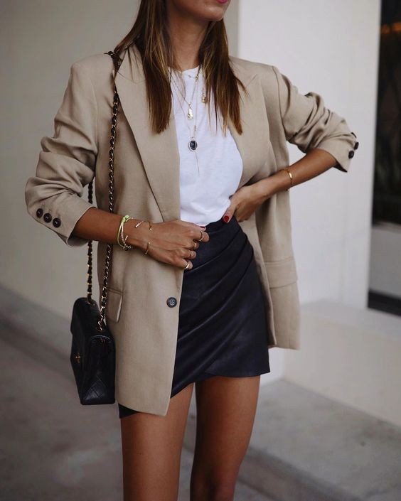 Blazer and skirt outfit, Casual wear
