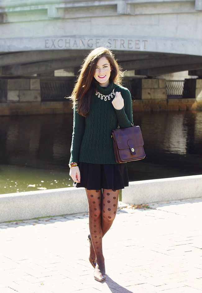Outfits With Polka Dot Tights, Little black dress, Alexandra Pereira