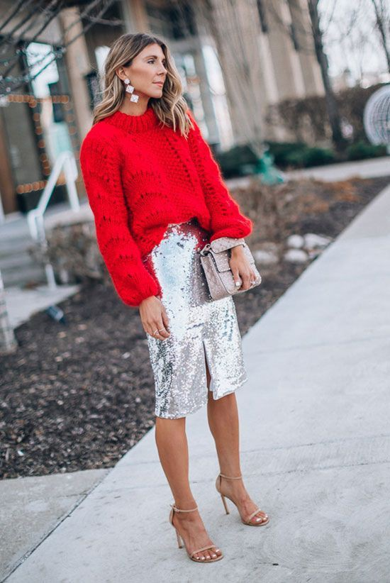 Oversized jumper and sequin pencil skirt