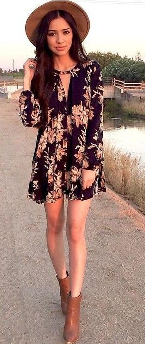 Floral rompers with ankle boots